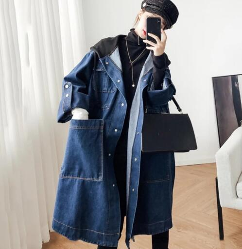 superAen fashion denim Windbreaker women fashion wild casual Hooded Solid Color Zipper Long Sleeve   trench   coat for women 2019