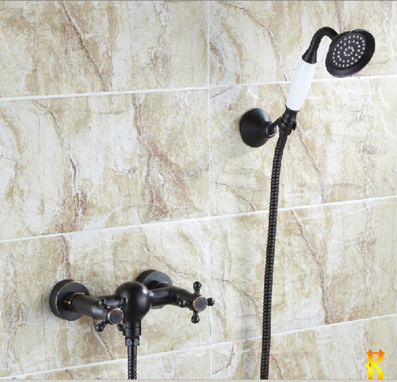 ФОТО Oil Rubbed Bronze Ceramic Bathtub Faucet W/ Shower Mixer Tap Set Two Cross Knobs