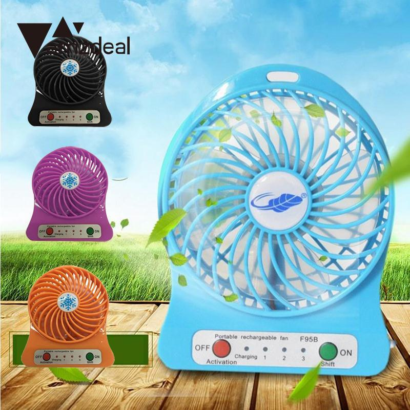 AMZDEAL New USB Powered Desktop Cooling Fan 3 Speed w/Light Emergency For Computer Laptop PC