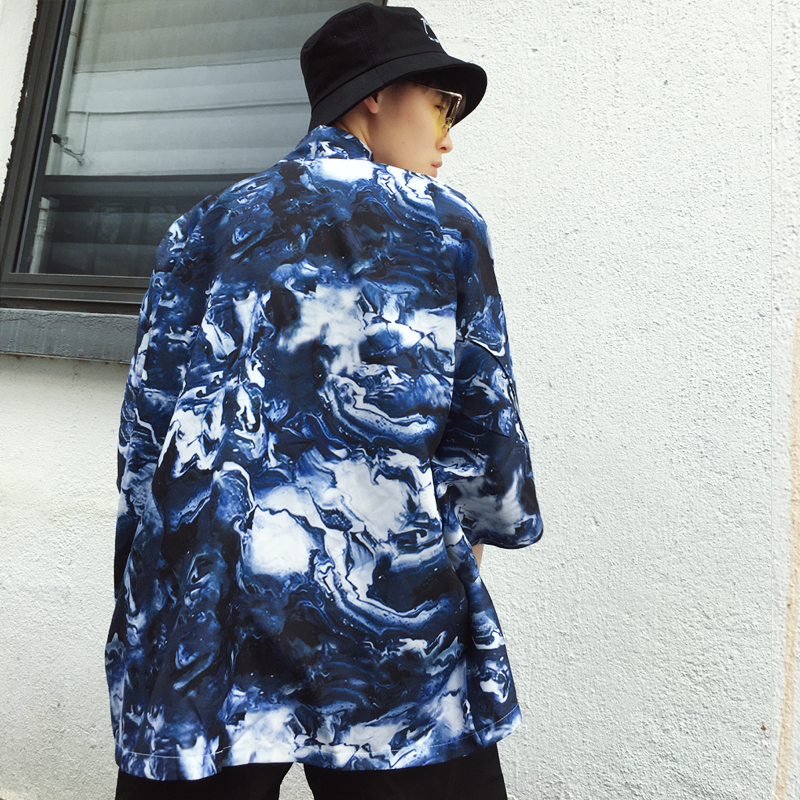 2018 summer male casual long kimono outerwear overcoat men chinese style half sleeve trench cardigan coat