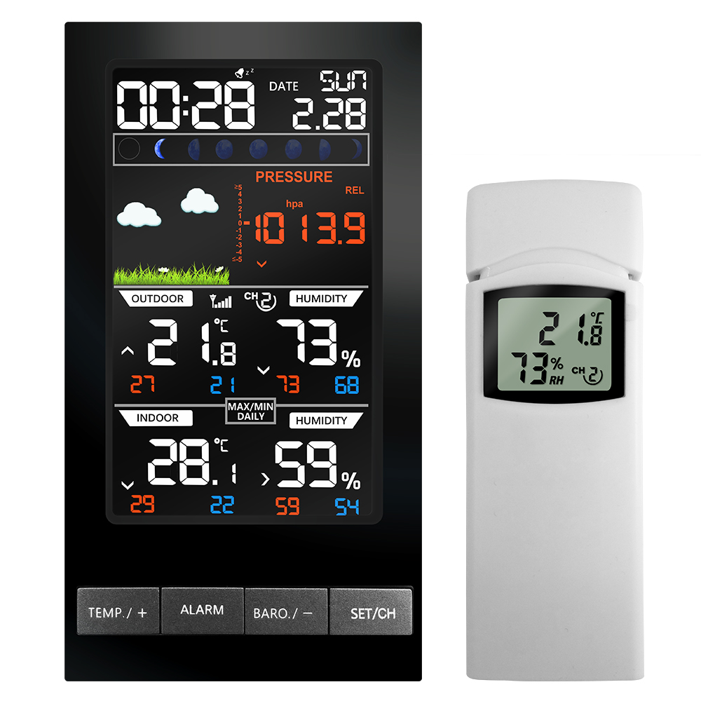 Wireless Weather Station Indoor Outdoor Temperature Sensor Hygrometer mmHg Barometer Weather Forecast Clock Colorful LCD DisplayWireless Weather Station Indoor Outdoor Temperature Sensor Hygrometer mmHg Barometer Weather Forecast Clock Colorful LCD Display