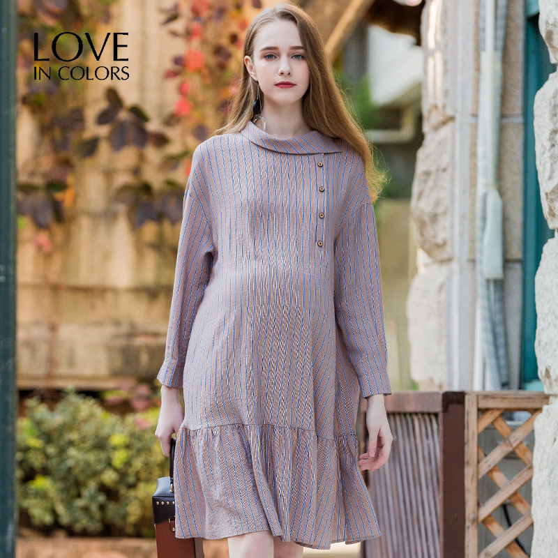 LoveInColors Half High Neck Maternity Dress Autumn Fashion Long Sleeve Clothes for Pregnant Women Pregnancy Clothing vintage style scoop neck printing long sleeve dress for women