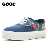 GOGC Slipony Women Footwear 2016 New Flower Floral Canvas Shoes Height Increase Female Women S Elevator