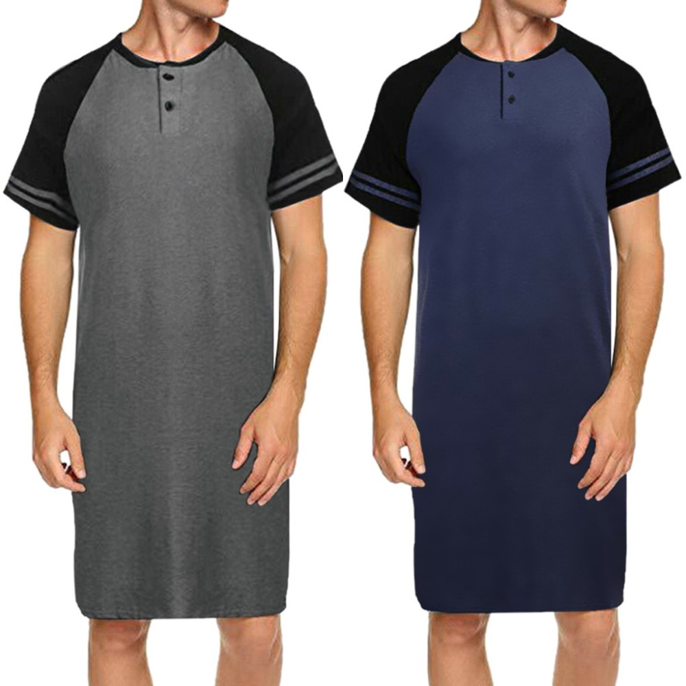 2019 Men Sleepwear Long Nightshirt Short Sleeve Nightwear Night Shirt Soft Comfortable Loose Sleep Shirt Male Home Clothing