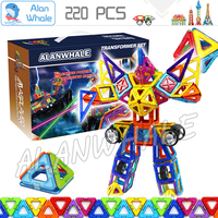 220pcs/set Super Magnetic Building Blocks 3D DIY Brain Training ABS plastic magnets Educational Toy Deluxe Miracle Brain Sets