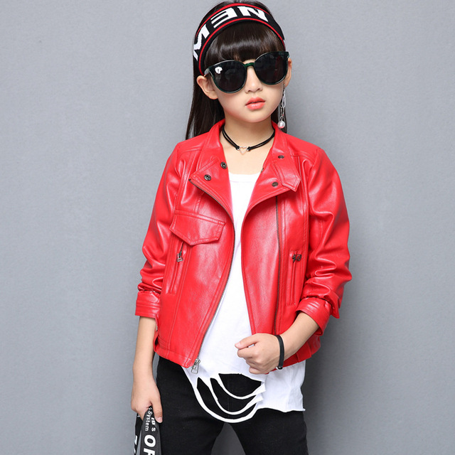 2018 Autumn Winter Motorcycle Leather Jacket For Girls Children Brand Zipper Rivet Jacket Coats Fashion Baby Boys Girls Clothes