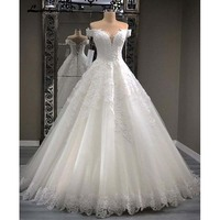 Boat Neck Wedding Dress Princess Bride Dress Floor Length White Lace Wedding Dresses Vestido De Novia