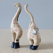 Resin Elephant Figurine Statue Deer Crafts Fawn Sculpture Animal Figurine Home Living Room home decoration accessories Ornaments