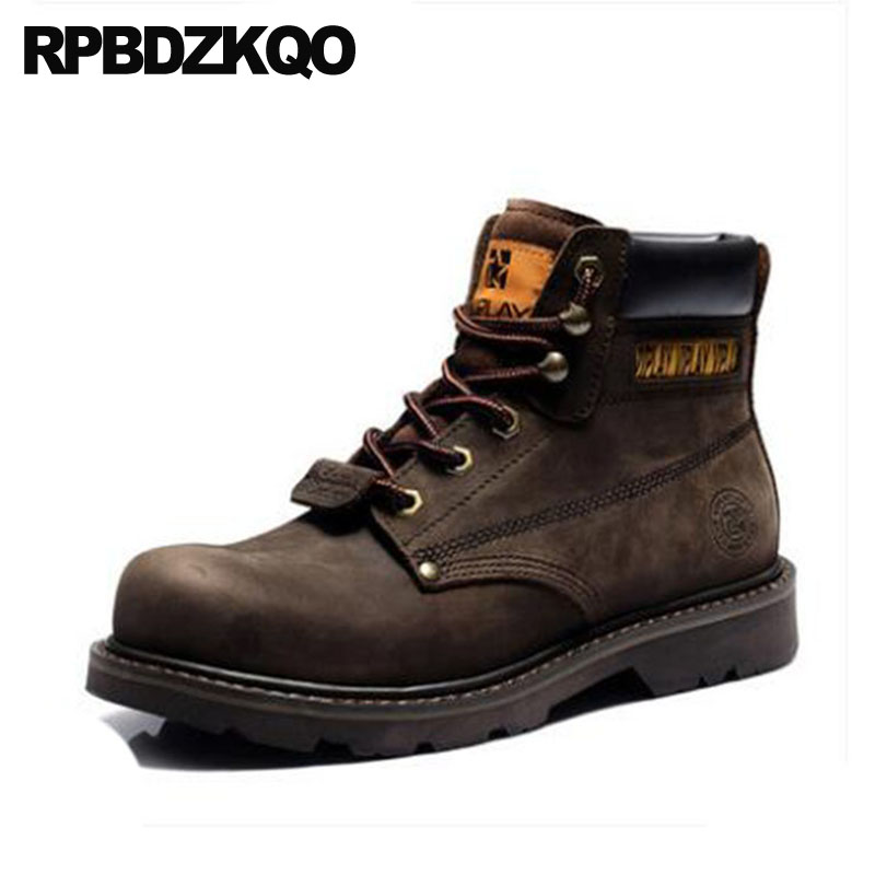 Platform Waterproof Faux Fur High Top Ankle Brown Booties Army Military Combat Work Safety Vintage Mens Winter Boots Warm Shoes platform bow faux fur ankle boots