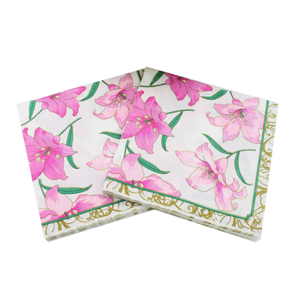 Fresh Pink Lily Flowers Paper Napkins Event & Party Tissue Napkin Supply Party Wedding Cafe Decoration 33CM*33cm 20pcs/pack/lot