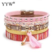 summer leather bracelet charm bracelets Tassel Rivet Bracelets For Women magnet buckle Bohemian for women