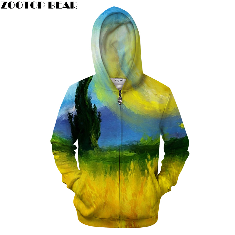 Painting 3D Print Hoodies Men Casual Hoody&Sweatshirt Groot Tracksuit Pullover HoodedCoat Supreme New Zipper DropShip ZOOTOPBEAR
