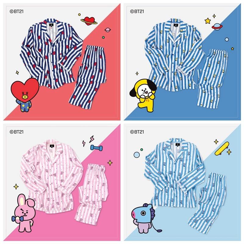 Nueva Kpop BT21 Bantan chicos BTS JUNG KOOK JIMIN V mismo pijamas de algodón buenas hombre y mujer es Bedgown ropa de dormir pijama conjunto