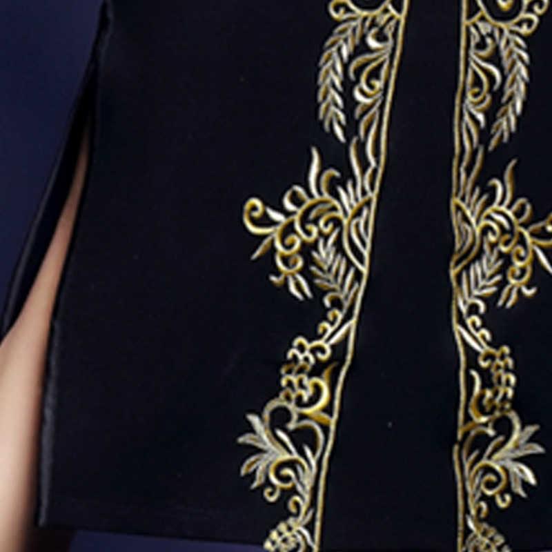 Женское платье 2018 Демисезонный Винтаж длинные платья одежда с длинным рукавом черная сетчатая с вышивкой пикантные Разделение заканчивается тонкий Vestido P024