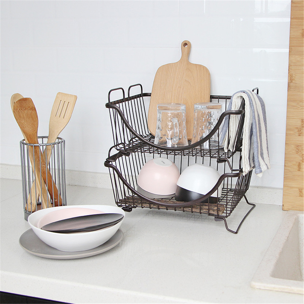 Multifunction Kitchen Metal Stackable Storage Basket Office Desktop Book Sundries Finishing Basket Home Cosmetics Bath Organizer