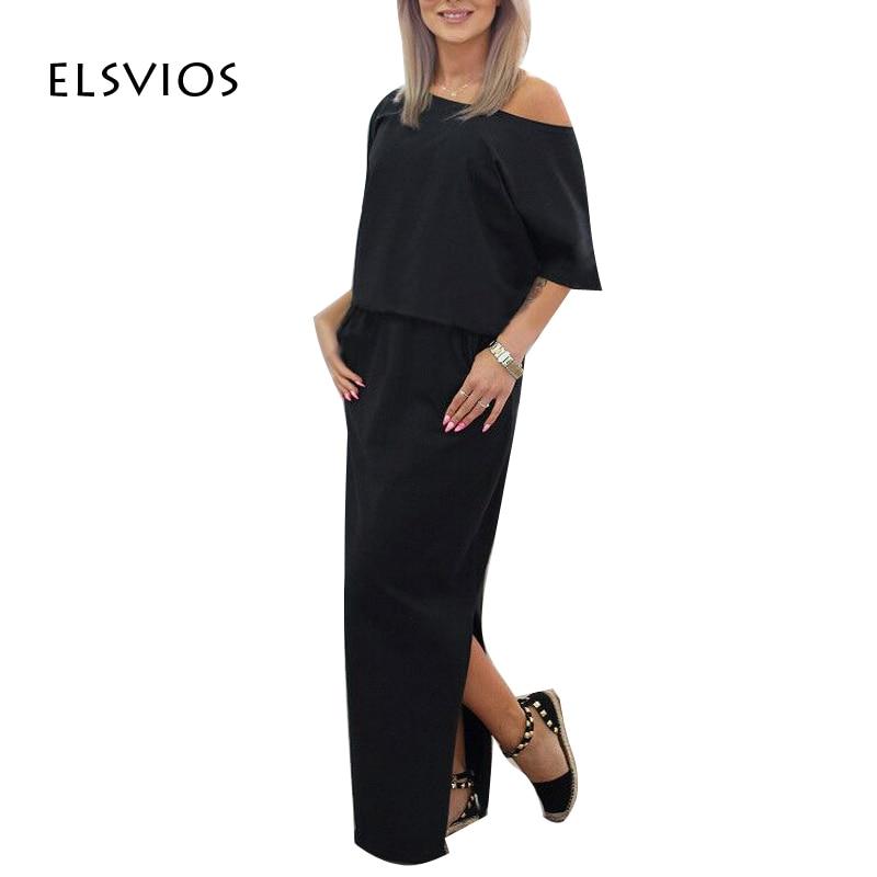 ELSVIOS 2017 נשים סקסיות ארוכות מקסי קיץ שמלת פיצול צד שמלה רופפת שמלת שרוול קצר מסיבת ערב עם כיס Vestidos