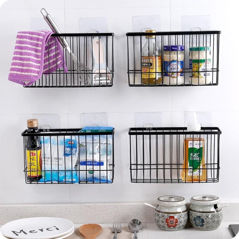 Iron Kitchen Storage Basket Sundries Wall Organizer Rack Kitchen Seasoning Hanging Basket Bathroom Shelf Desktop Storage Basket Полка