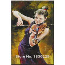 Modern Art Skilled Artist Handmade High Quality Knife Beauty Oil Paintings Lady violin musical instrument Painting On Canvas