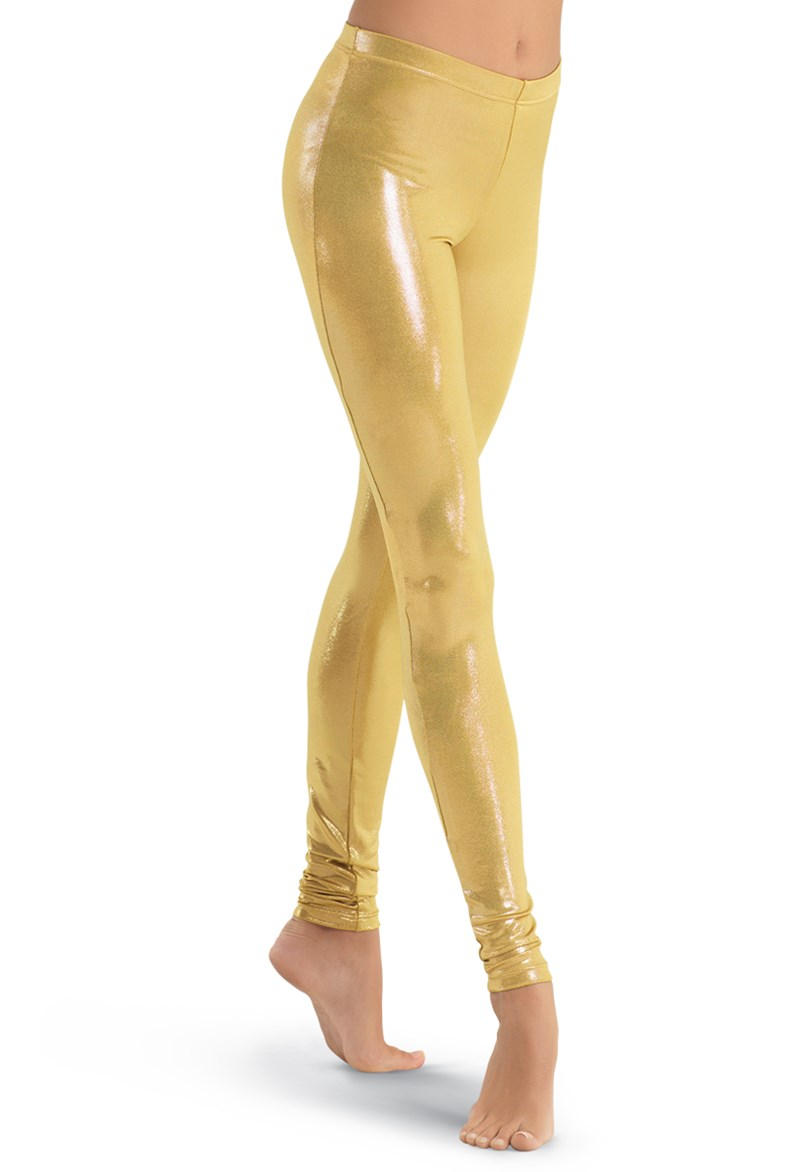 LZCMsosft Mid Waist Womens Spandex Shiny Metallic Gold Dance Leggings Stage Performance Costume Pants Skinny Pencil Trousers