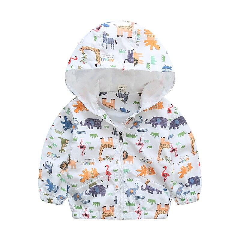 Весна Осень Мультфильм giraffi зебра с принтом слона для маленьких мальчиков куртка с капюшоном детское пальто Детская верхняя одежда 75-120 см