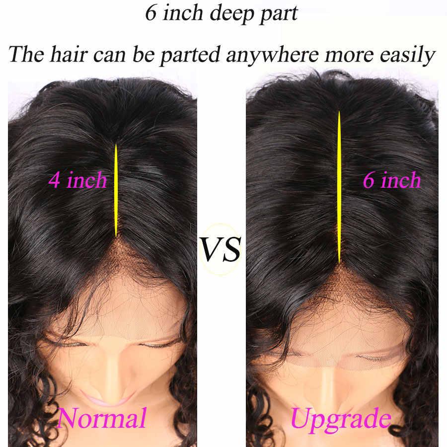 Волосы ELVA 13x6 человеческие волосы на кружеве Парики 150 плотность парик из волнистых волос с детскими волосами предварительно сорванные волосы бразильские волосы remy