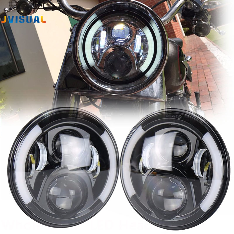 Generation 2 LED Head light 7 Led Headlight Motorcycle Motobike Projector Headlamp for Bike Motorcycle