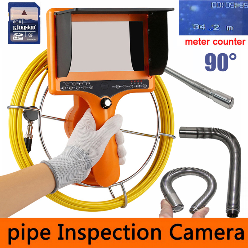 Камера осмотра трубопровода DVR 90 градусов, сливная канализационная промышленная система змея эндоскопа видео с головкой камеры 23mm