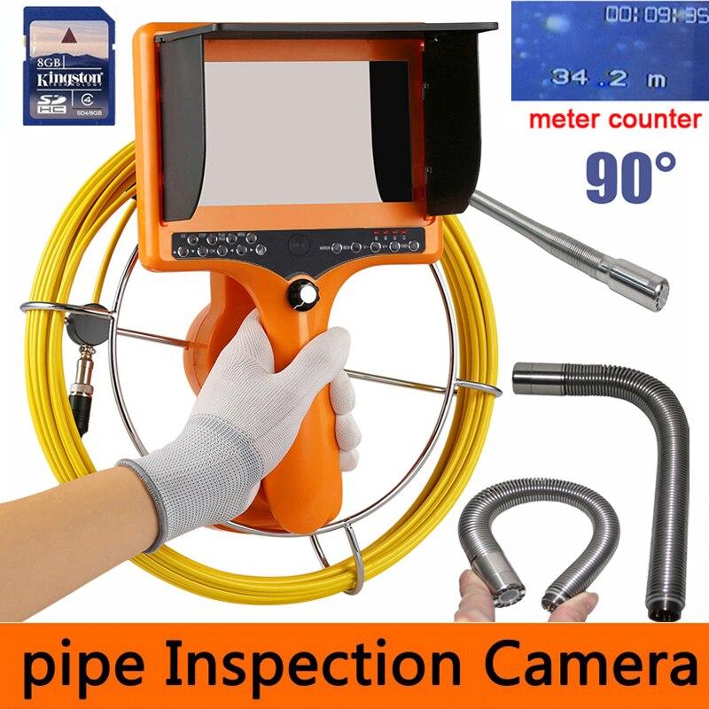 90 degré DVR Tuyau Pipeline Caméra D'inspection, Drain d'égout Industrielle Endoscope Serpent Vidéo Système avec 23mm tête de caméra