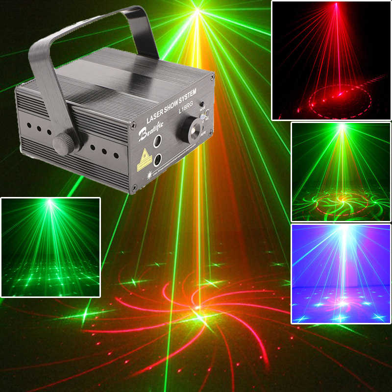 Red Green Laser Lumiere Projector Blue LED Light and Music Equipment For Disco Machine On The Remote Control Sound lights