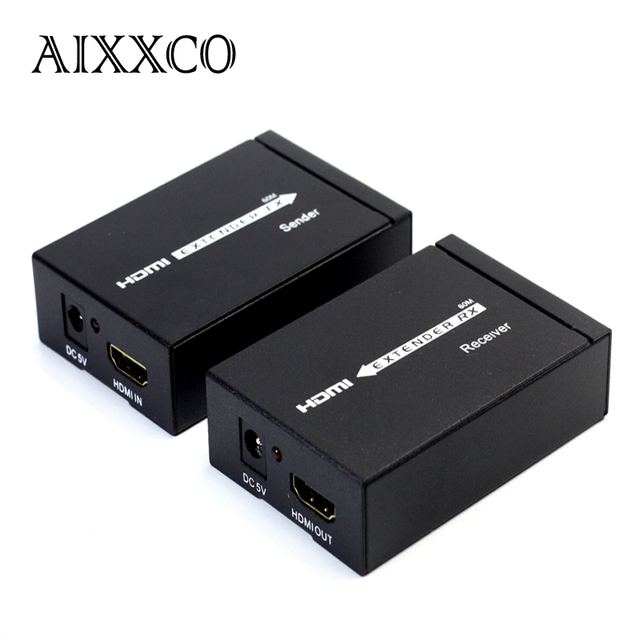 AIXXCO HD 1080P HDMI Extender TX/RX 60M with IR over CAT6 RJ45 Ethernet Cable Support HDMI 3D for HDTV DVD Player