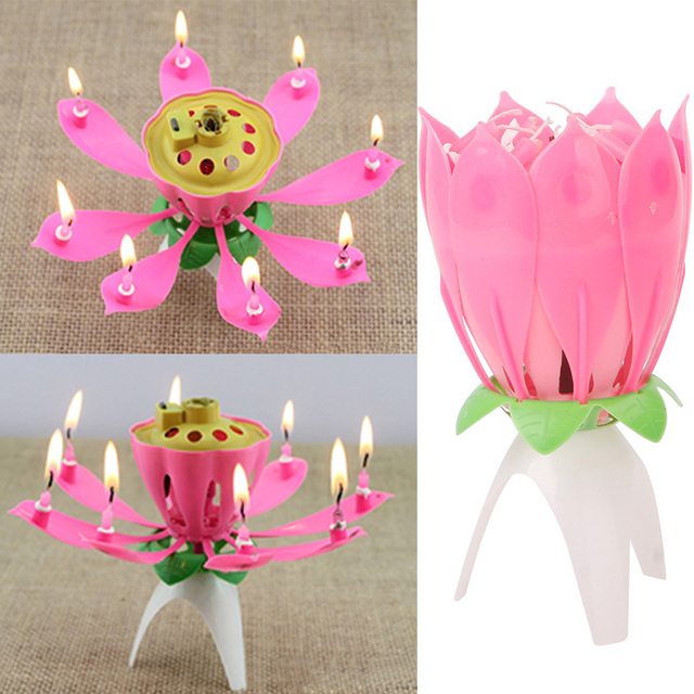 Romantic Flower Happy Birthday Blossom Lotus Musical Candle Party Gift 73343