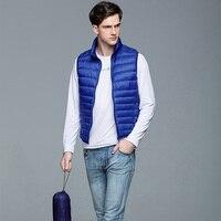 Men Vest Spring Duck Down Thin Waistcoat Sleeveless Coat 2017 Fashion Male Zip Gilet Casual Autumn