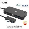Superficie Del Muelle de disco Hub con DisplayPort HDMI Ethernet y USB 2.0/3.0 estación de acoplamiento para microsoft surface 3 puertos por encargo y pro 4