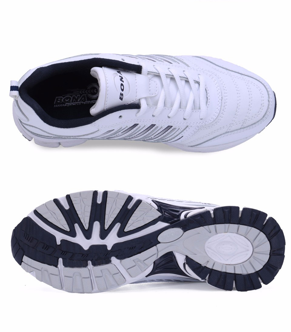 Foto from the top both BONA popular running sneakers for men. Men's athletic shoes for outdoor white color