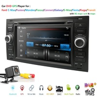 Two 2 Din 7''Car DVD Player For FORD/Mondeo/S MAX/C MAX/Galaxy/FOCUS 2 Radio FM vehicle GPS Navigation radio1080P DAB+ TPMS Map