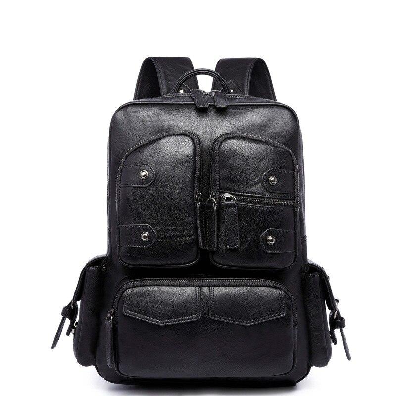 ФОТО Famous Brand Men's Backpacks Pu Leather Vintage Black Laptop Backpacks For Teenagers Boy Casual School Bags High Quality Mochila