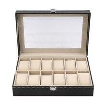 12 слотов сетка из искусственной кожи Дисплей Коробка для хранения ювелирных изделий Органайзер чехол закрыт часы дисплей шкатулка с черным цветом