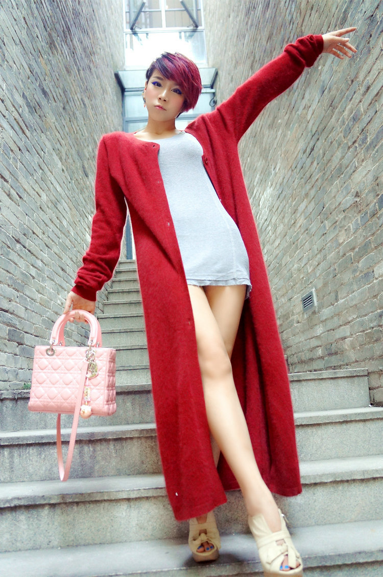 Spring autumn woman loose cashmere maxi sweater coat ankle length ...