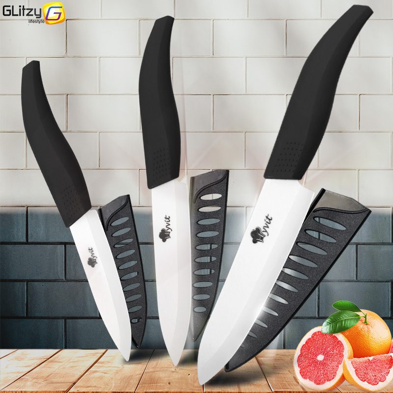 Set di coltelli in ceramica 3 Coltelli da cucina 4 5 6 pollici Set Zirconia White Blade Black Chef Utility Slicing Paring Fruit Vegetables Cutter