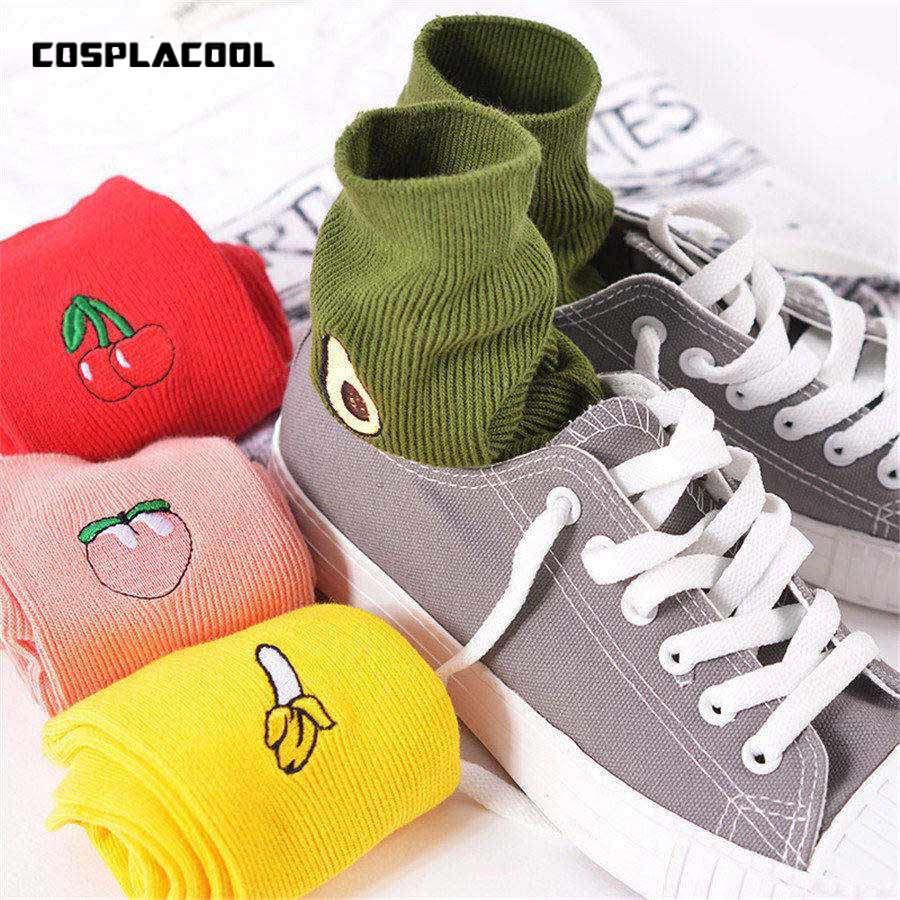 Korean Women's Kawaii Embroidery Fruit Print   Socks   Cute Banana Cherry Peach Cartoon Long   Sock   Pink Red Cotton Harajuku   Socks   Sox