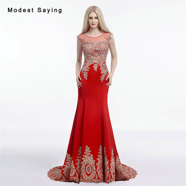 Elegante Oro e Rosso Mermaid O Collo Bordato In Pizzo Da Sera 2017 abiti da  Cerimonia 32bc82c7660