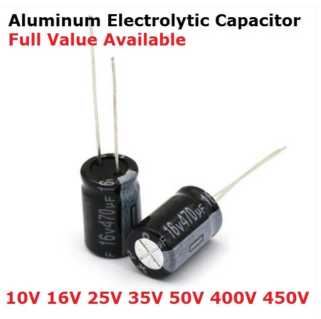 5PCS 1UF 2.2UF 3.3UF 680UF 1000UF 1500UF 2200UF 3300UF 4700UF 6.3V 10V 16V 25V 35V 50V 400V Aluminum Electrolytic Capacitor