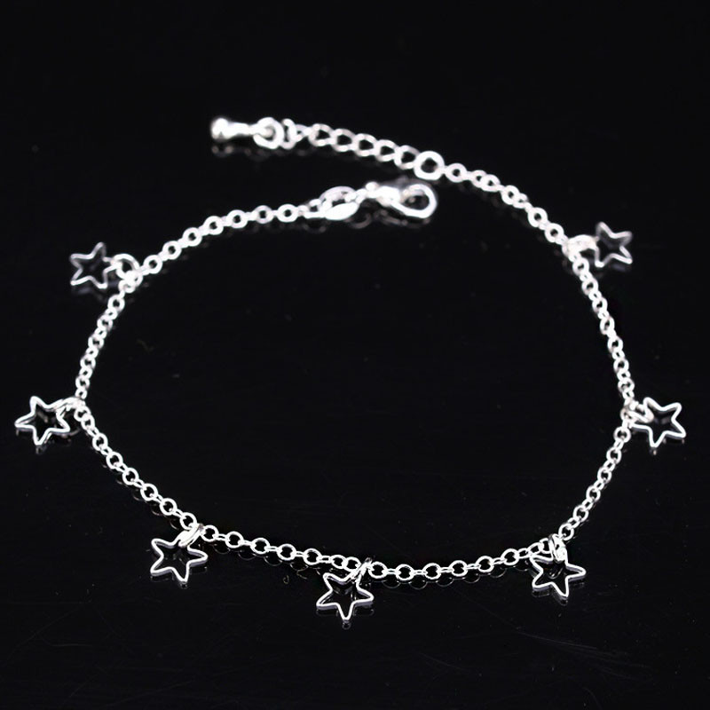 Alloy Anklets Hollow Out Five-pointed Star Pattern Women Jewelry Beach Patry Ankle Chain Jewelry Accessories #1012
