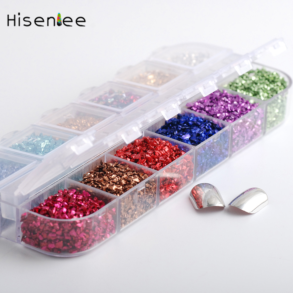 Hisenlee 12Colors 3D Nail Art Crushed Glass Powder Broken Nail Glitter Powder Decoration Rhinestones For Tips Nail Art Set 1Box 1 5mm 2mm 3mm gold silver hot fix flatback half round nail art rivet punk rock style for 3d nail art decoration