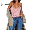 GTIME Recortable Manga Satén Camisola Sin Mangas Sexy V Cuello Mujeres Camisetas Otoño Invierno Streetwear Backless Camis # WGT133