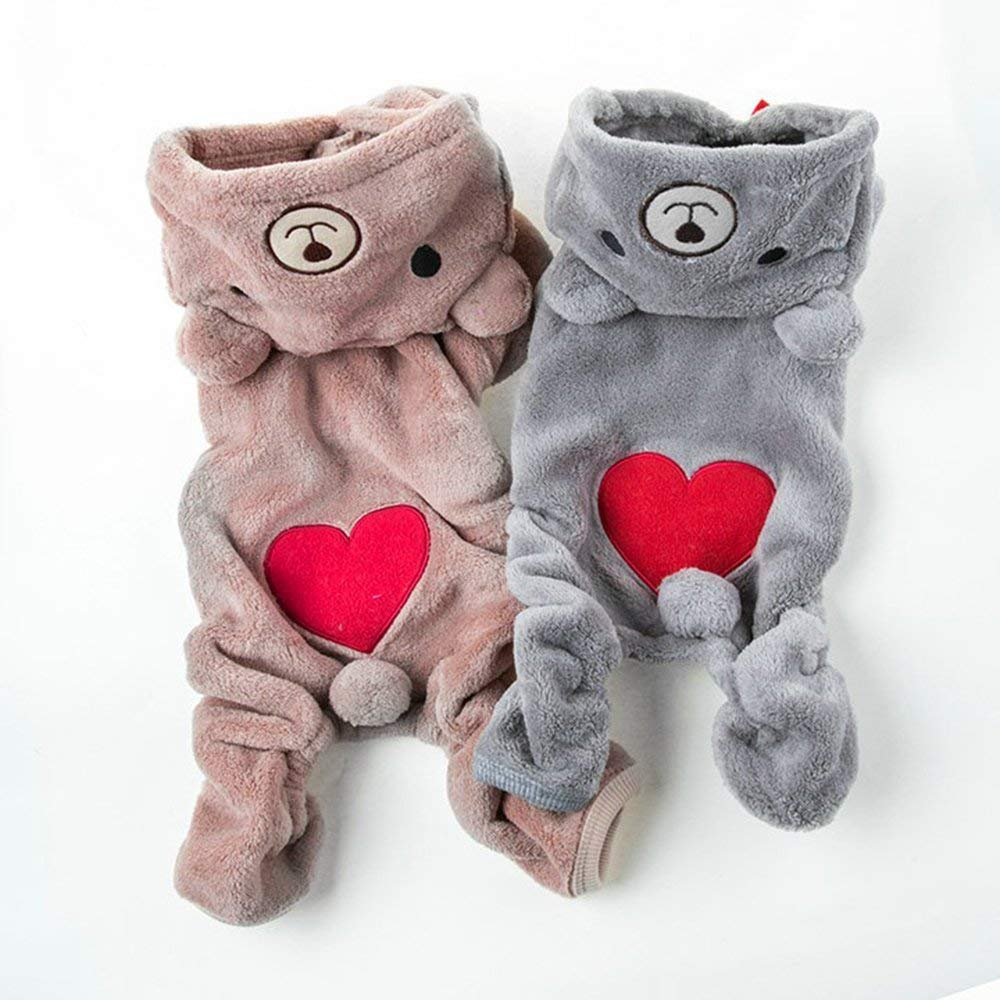 Cute Pet Dog Clothes For Small Dogs Warm Fleece Bear Clothes Pet Costume Winter Puppy Clothing Hooded Jacket For Dog in Dog Coats Jackets from Home Garden