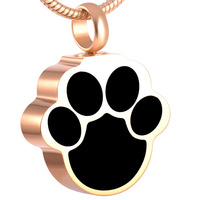 IJD8155 PVD Plated Gold Rose Gold Paw Memorial Urn Cremation Keepsake Locket Funeral Jewelry Ashes Pendant
