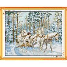 Everlasting love The cart go through the snow Chinese cross stitch kits Ecological cotton stamped 11CT DIY Christmas decorations