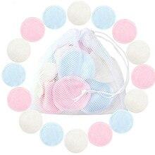 16 Uds. Almohadillas de algodón reutilizables maquillaje desmaquillante facial de doble capa almohadillas de limpieza de uñas lavables con bolsa de lavandería suave LD