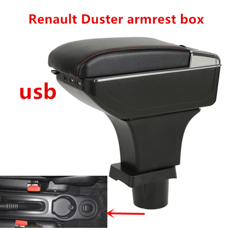 For Renault Duster armrest box central Store content box with cup holder ashtray USB interface Generic model